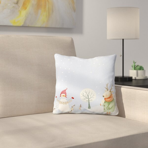 Deer and Snowman in Snowy Winter Forest with Little Birds Throw Pillow by East Urban Home