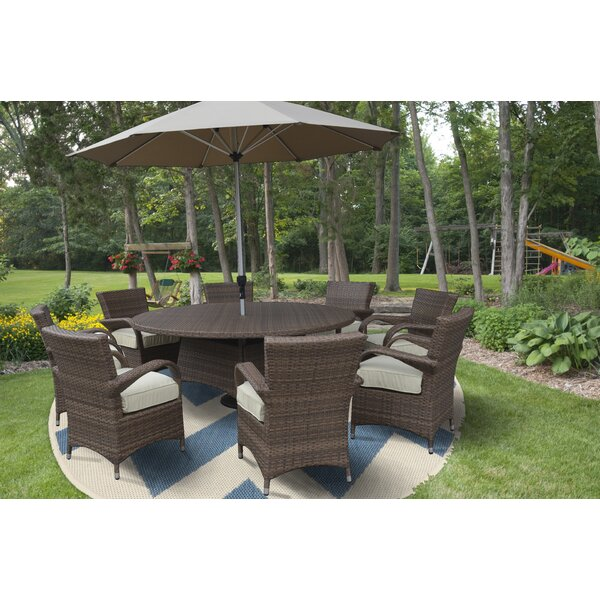 Fontinella Premium and Lush Complete 10 Piece Dining Set with Cushions/ with Umbrella by Darby Home Co