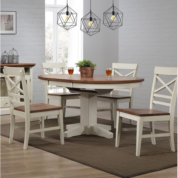 Hayden 5 Piece Extendable Solid Wood Dining Set by Ophelia & Co. Ophelia & Co.