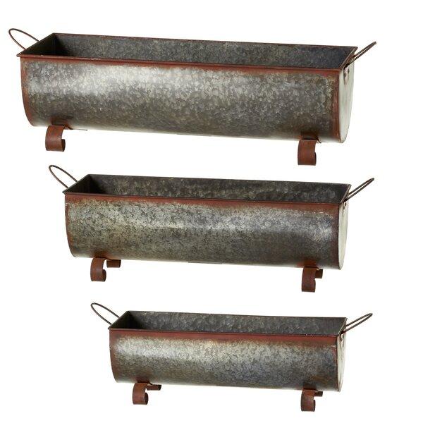 Albinson Rusted Galvanized Trough 3-Piece Metal Planter Box Set by Gracie Oaks