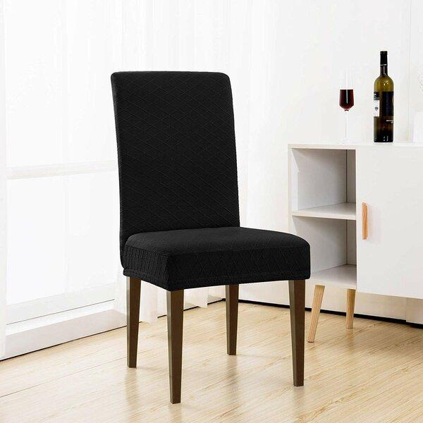 Rhombus Jacquard Universal T-Cushion Dining Chair Slipcover (Set Of 2) By Latitude Run