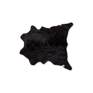 Hagerman Hand-Woven Cowhide Black Area Rug ByBloomsbury Market