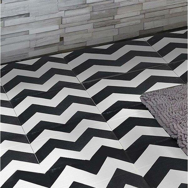 MeaLu Chevron 8 x 8 Cement Field Tile in Black/White (Set of 4) by Rustico Tile & Stone