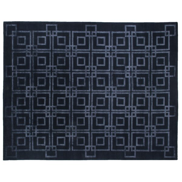Super Tibetan Hand-Knotted Navy Blue Area Rug by Exquisite Rugs
