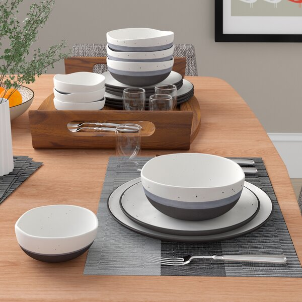 Thistle Double Bowl 16 Piece Dinnerware Set, Service for 4 by Mint Pantry