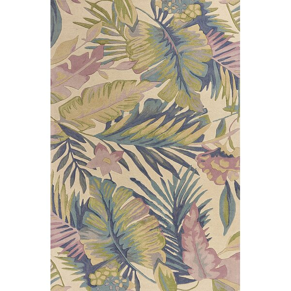 Remington Tropics Hand-Tufted Wool Green/Pink Area Rug by Bay Isle Home