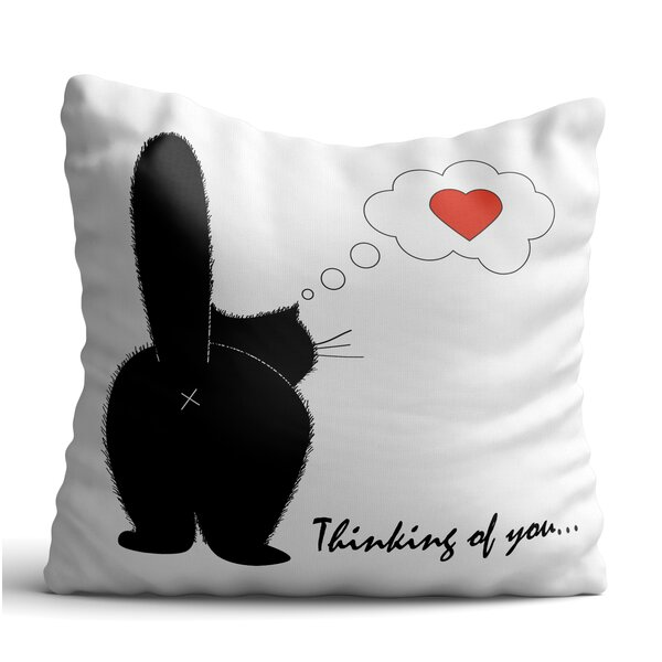 Back Black Cat Posture Throw Pillow by oyo concept