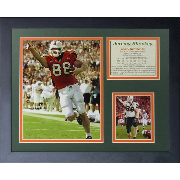 Jeremy Shockey - Miami Hurricanes Framed Photographic Print by Legends Never Die