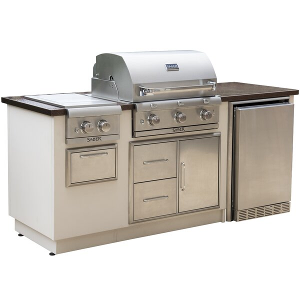 R-Series EZ 3-Burner Built-In Propane Gas and Charcoal Grill by Saber