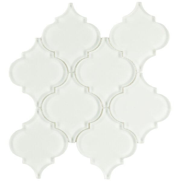 Linterna 3.5 x 4.25 Glass Mosaic Tile in Glossy Ice White by EliteTile