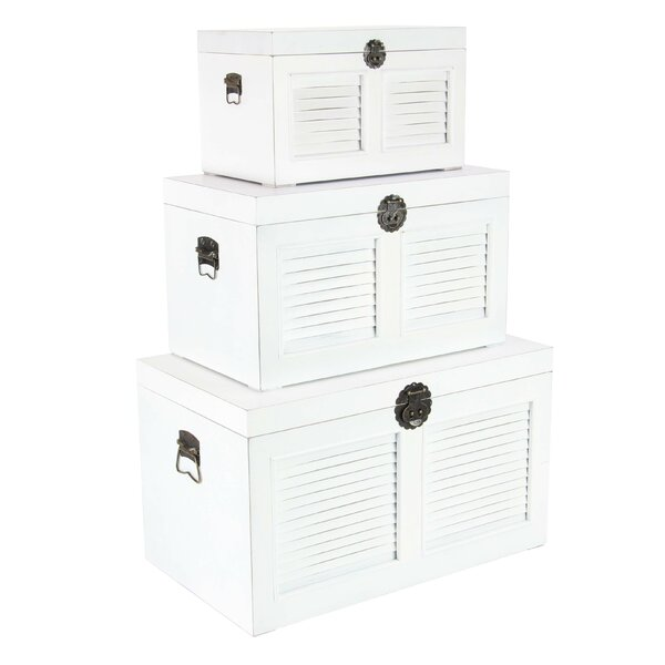 Harley Traditional Rectangular Louvered Trunk Set (Set of 3) by Longshore Tides