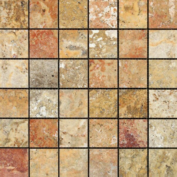 Scabos 12 x 12 Travertine Mosaic Tile