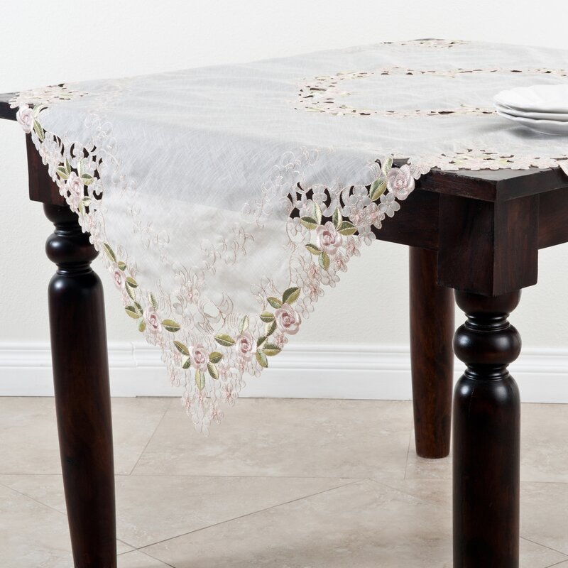 Cherry Blossom Collection Off White Embroidered And Cutwork Table Topper