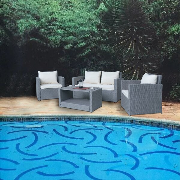 Hitterdal Patio 4 Piece Sofa Seating Group with Cushions by Charlton Home