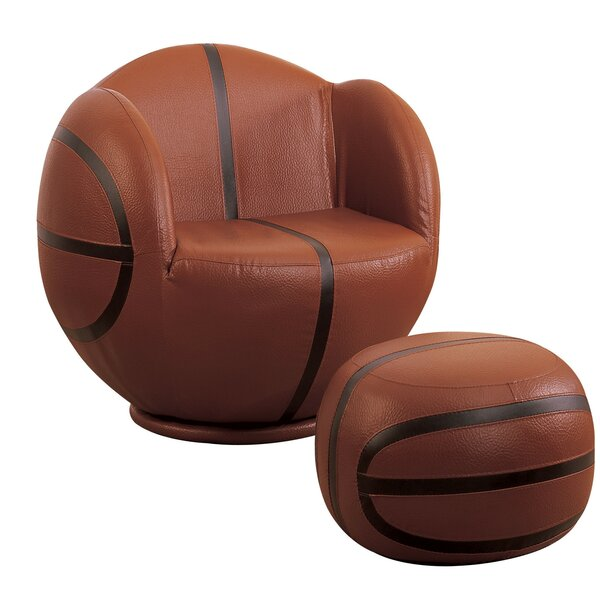 Scheetz Basketball Swivel Barrel Chair with Ottoman by Zoomie Kids Zoomie Kids