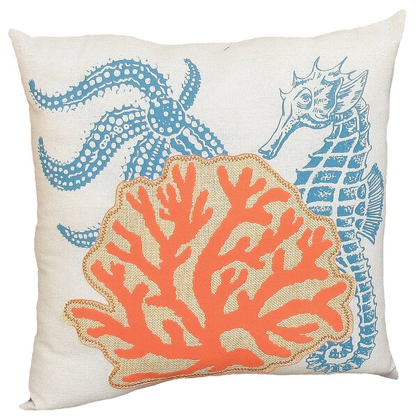 Coastal Applique Sea Life and Coral Decorative Throw Pillow by Xia Home Fashions