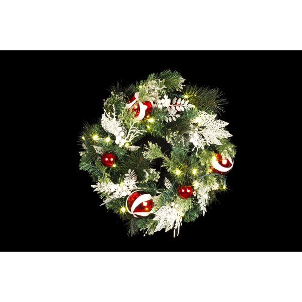 Candy 7 Lighted Flocked Wreath by Queens of Christmas