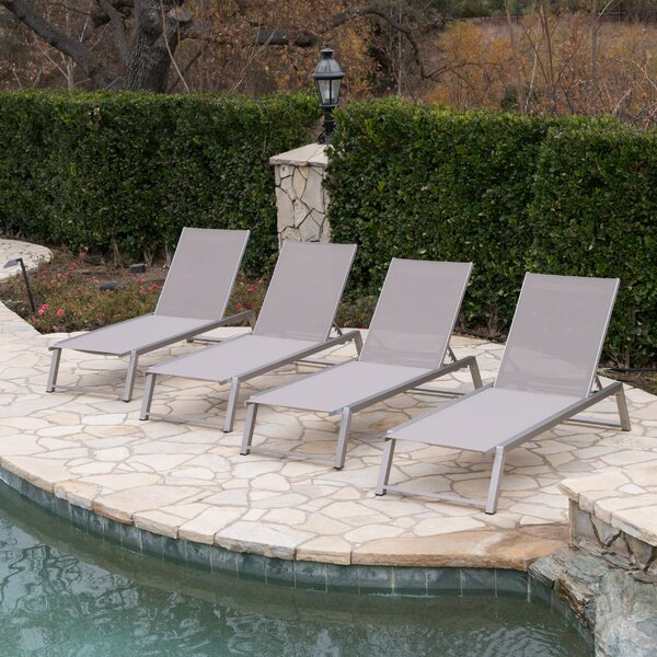 Ipock Reclining Chaise Lounge (Set of 4) by Orren Ellis