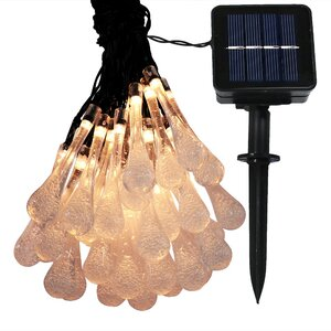 30 Count LED Solar Powered Water Drop String Light
