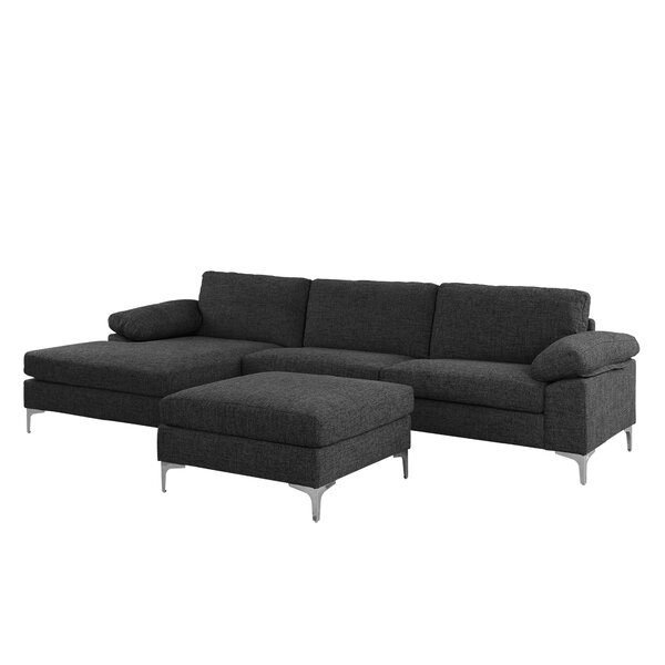 Stylish Quint Left Hand Facing Contemporary Sectional with Ottoman by Wrought Studio by Wrought Studio