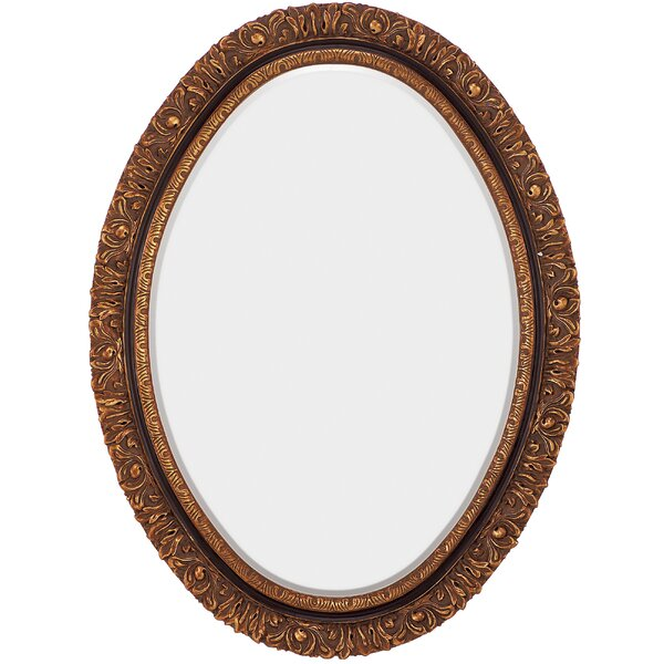 Traditional Oval Gold and Black Antique Beveled Glass Wall Mirror by Majestic Mirror