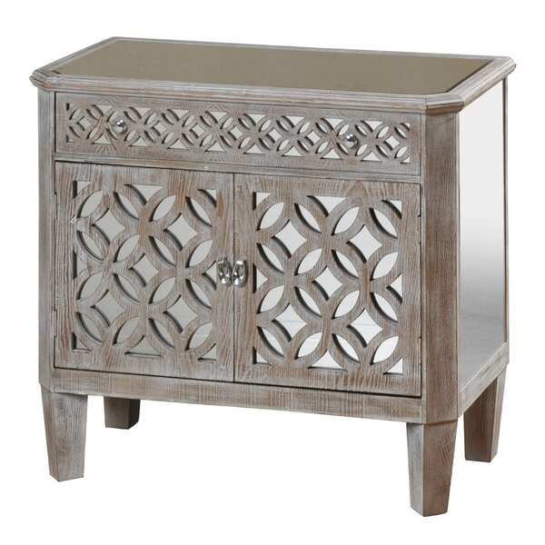 Lyra Mirrored and Distressed 2 Door Accent Cabinet by Rosdorf Park