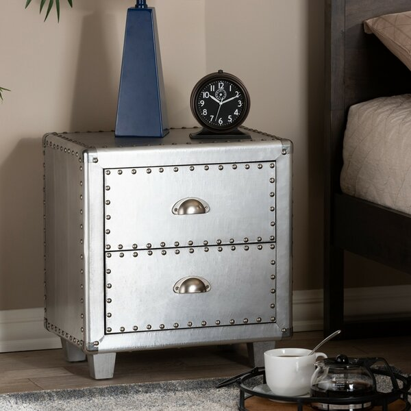 Daquan Metal 2 Drawer Nightstand by Williston Forge