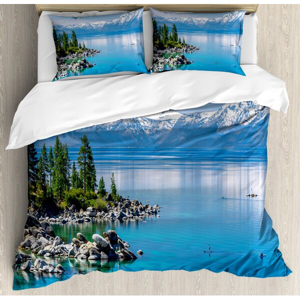 Landscape Waters of Lake Tahoe Snowy Mountains Pine Trees Rocks Relax Shore Duvet Set by Ambesonne