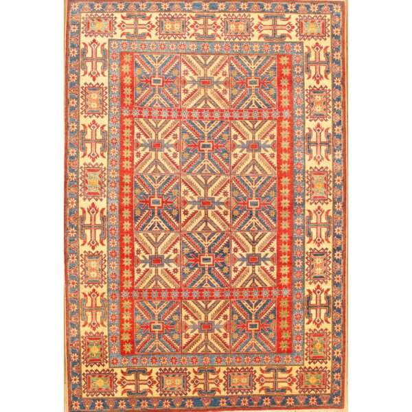 Kazak Hand-Knotted Wool Rust/Blue Area Rug by Pasargad NY