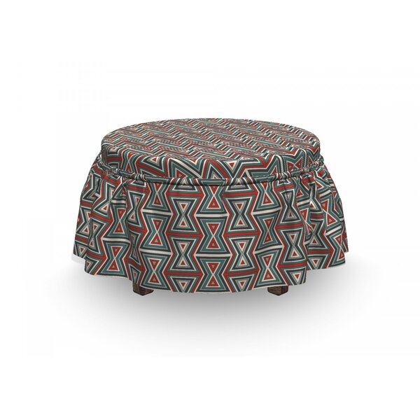 Geometric Hourglass 2 Piece Box Cushion Ottoman Slipcover Set By East Urban Home