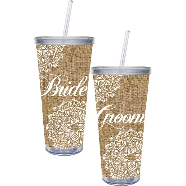 Bride and Groom 20 oz. Plastic Travel Tumbler (Set of 2) by The Holiday Aisle