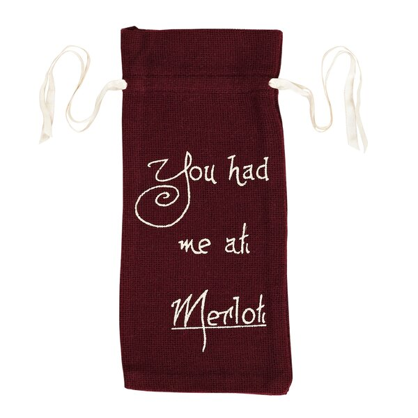 Castor Tabletop and Kitchen Burlap Stencil You Had Me at Wine Bag Carrier by The Holiday Aisle