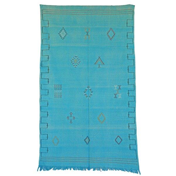 Moroccan Hand Woven Silk Teal Area Rug by Indigo&Lavender