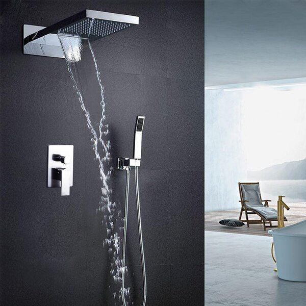 Venice Multifunctional Polished 2 Way Rainfall Thermostatic Complete Shower System with Rough-in Valve by FontanaShowers FontanaShowers