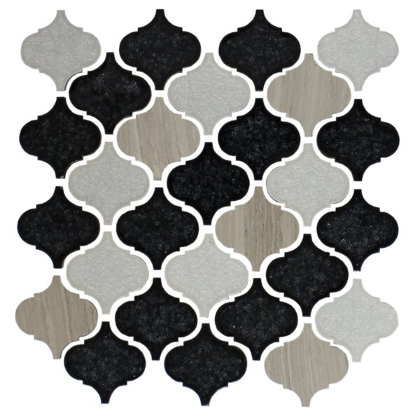 Teardrop Random Sized Glass Mosaic Tile in White/Black by Susan Jablon