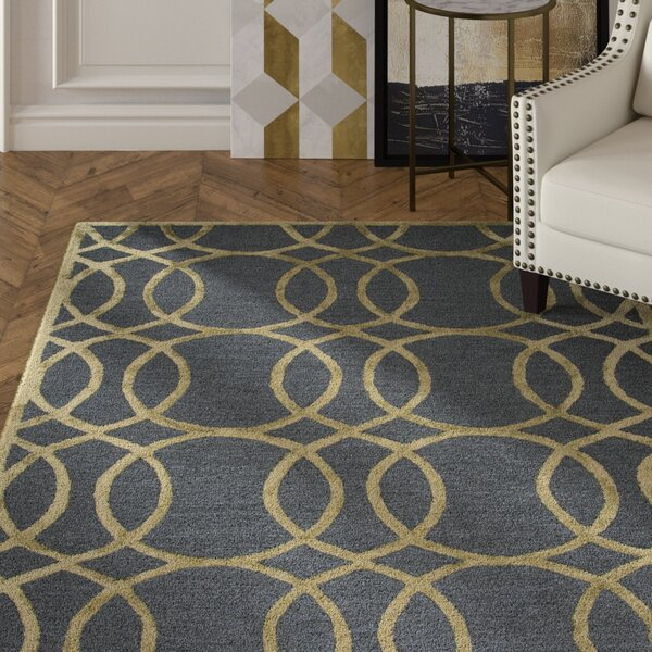 Carpathia Hand-Tufted Gray/Gold Area Rug by Mercer41