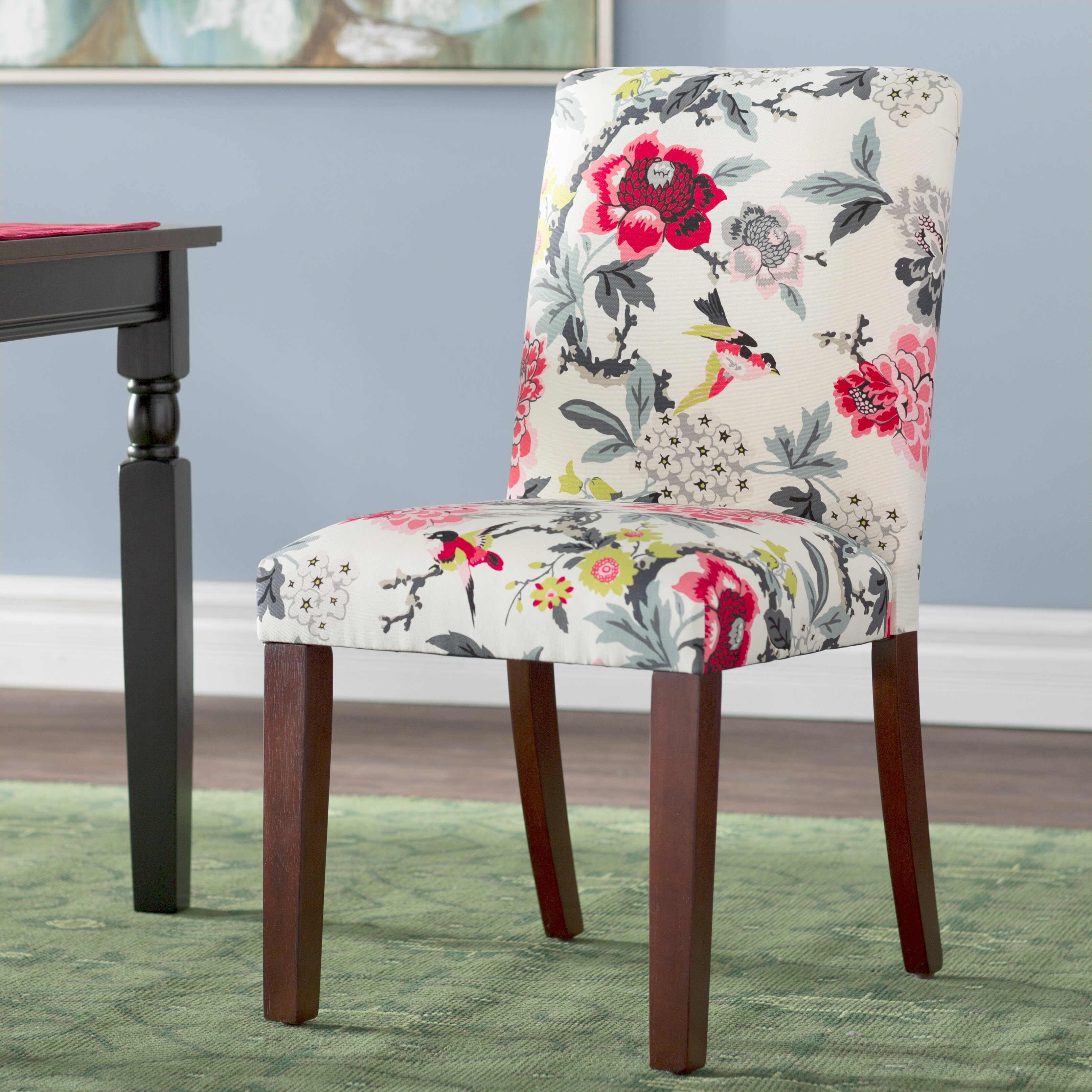 Winston Porter Calvillo Cotton Upholstered Dining Chair In Red Gray Yellow Reviews Wayfair