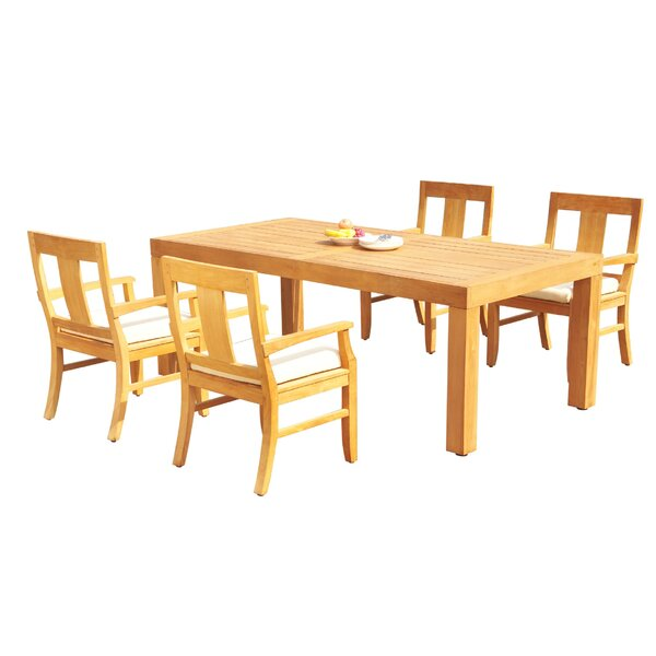 Louisburg 5 Piece Teak Dining Set by Rosecliff Heights