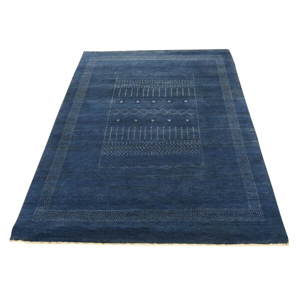 One-of-a-Kind Rothenberg Hand-Knotted Denim Blue Area Rug by Loon Peak