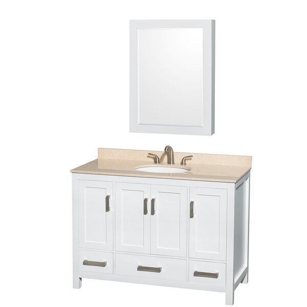 Sheffield 48 Single White Bathroom Vanity Set with Medicine Cabinet by Wyndham Collection
