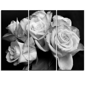 Bunch of Roses Black and White - 3 Piece Graphic Art on Wrapped Canvas Set by Design Art