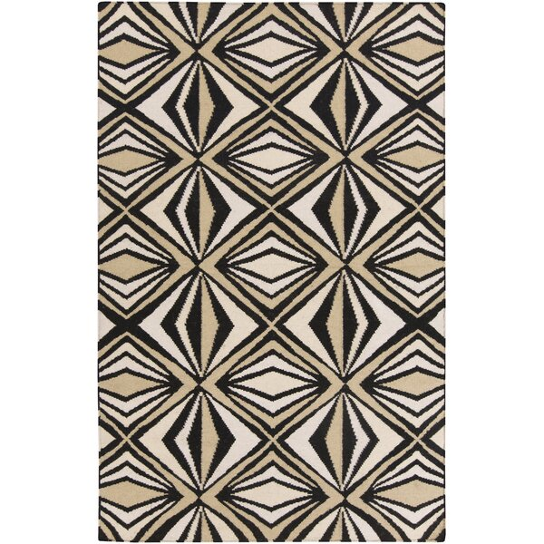 Voyages Black Geometric Area Rug by Malene b