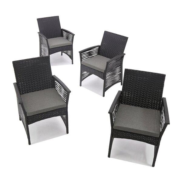 Codman Backyard Pool Steel Frame Patio Chair with Cushions by Bay Isle Home