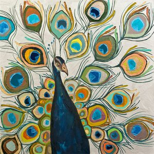 'Peacock Metallic Pearl' by Eli Halpin Painting Print on Wrapped Canvas by GreenBox Art