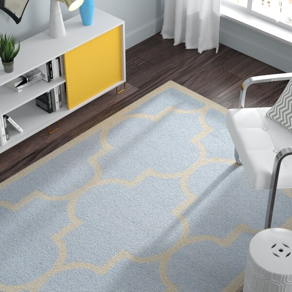 Charlenne Hand-Tufted Wool Light Blue/Ivory Area Rug by Zipcode Design