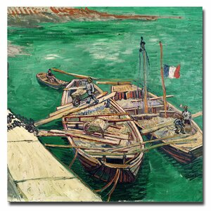 Landing Stage with Boats 1888 by Vincent van Gogh Painting Print on Wrapped Canvas by Trademark Fine Art