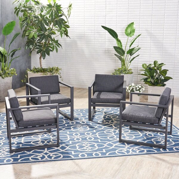 Mirando Patio Chair with Cushions (Set of 4) by Mercury Row