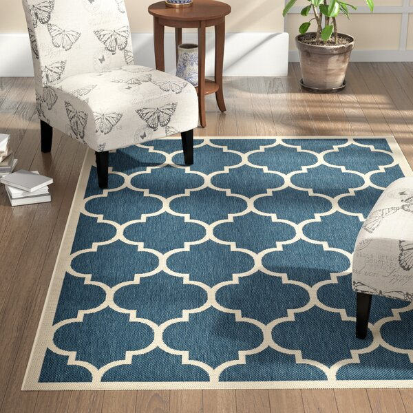 Short Blue/Beige Indoor/Outdoor Area Rug by Winston Porter