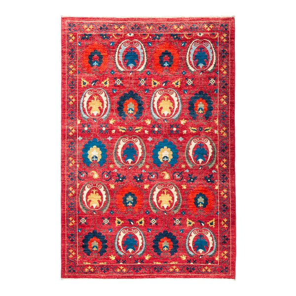 One-of-a-Kind Suzani Hand-Knotted Red Area Rug by Darya Rugs