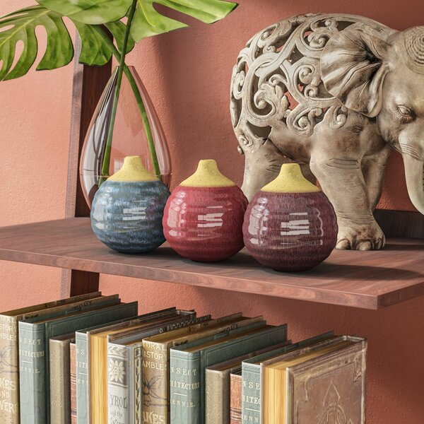 Eclectic Ceramic Table Vase (Set of 3) by World Menagerie